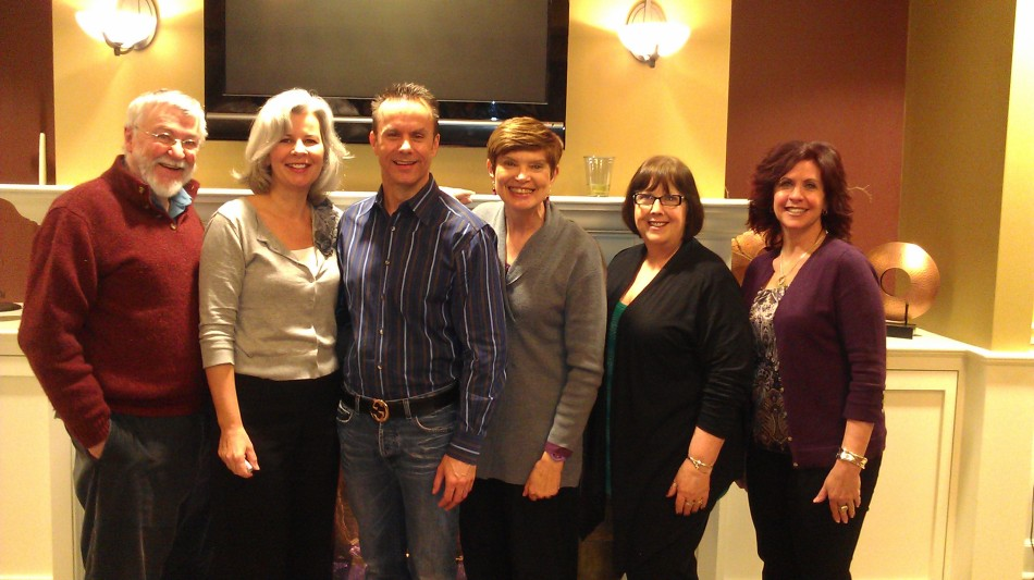 Justice Is Mind reunion at a Talent Tools events: (l-r) Richard Sewell, Jeanne Lobnes, Mark Lund,  Kim Gordon, Mary Jane Brennan Sangiolo and Paula Dellatte.