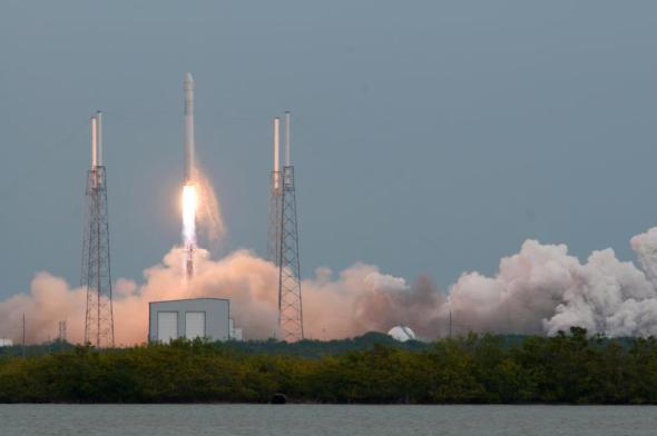 Liftoff of Falcon 9 and Dragon to the International Space Station