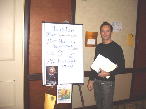 In 2007, at a screening of First World at Loscon in Los Angeles.