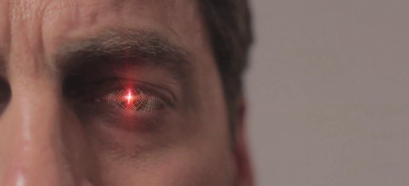 "The Star Trek moment in Justice Is Mind. ""Identify for retinal scan."""