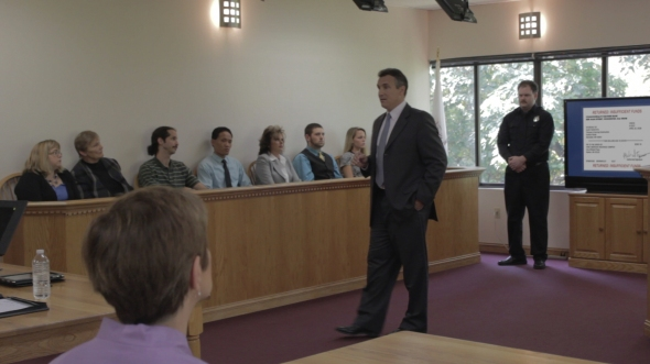 During the trial, special effects will appear on monitors in the courtroom.