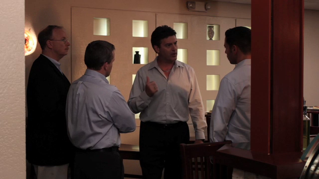 An angry Henri is questioned by detectives at his restaurant about missing contractors.