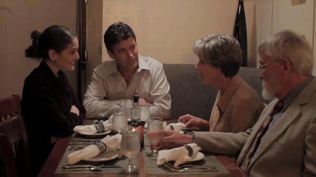 Margaret Miller (l), Henri, his mother Margaret (r) and Joseph enjoying lunch at one of Henri's restaurants.