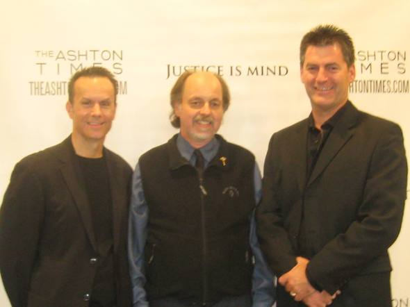 Mark Lund, Director, Peter Regnier of the Strand Theatre and Vernon Aldershoff (Henri Miller) last weekend.