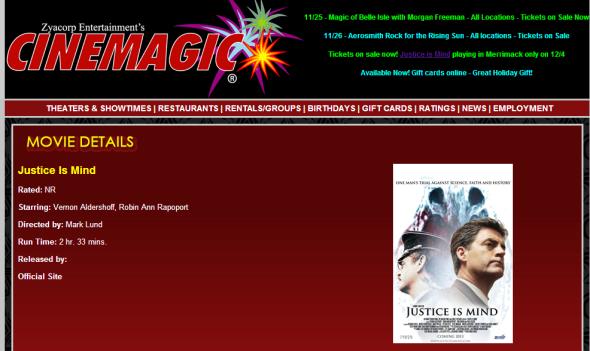 Justice Is Mind, New Hampshire Premiere, December 4, Merrimack, NH.