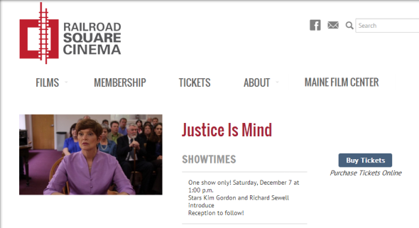 At Railroad Square Cinema, Waterville, ME - December 7!