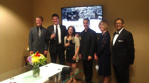 (l-r) Lee Simonds, Vernon Aldershoff, Jessica Killam, Mark Lund, Michele Mortesen and Arnold Peter at The Peter Law Group.