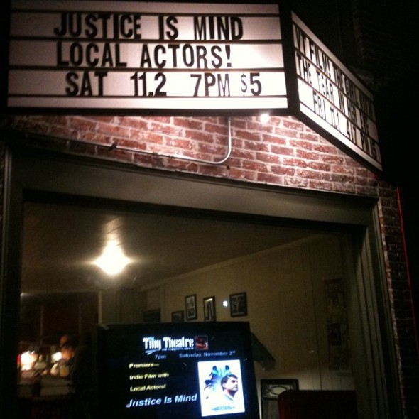 On the marquee at The Tiny Theatre.