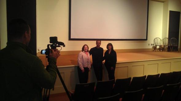 Gail Sullivan, Mark Lund and Mary Wexler at the Plimoth Cinema for PAC TV