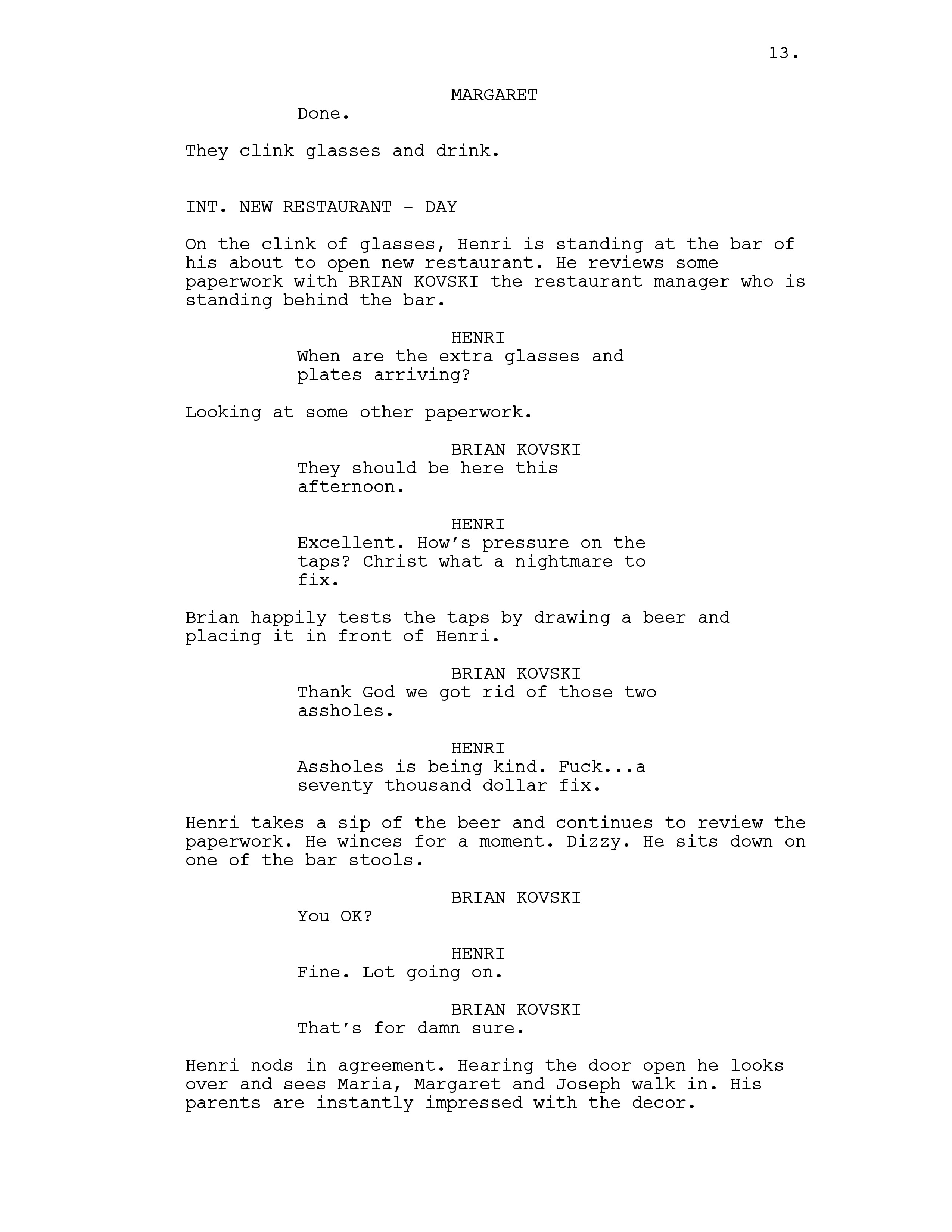 That scene in the script.