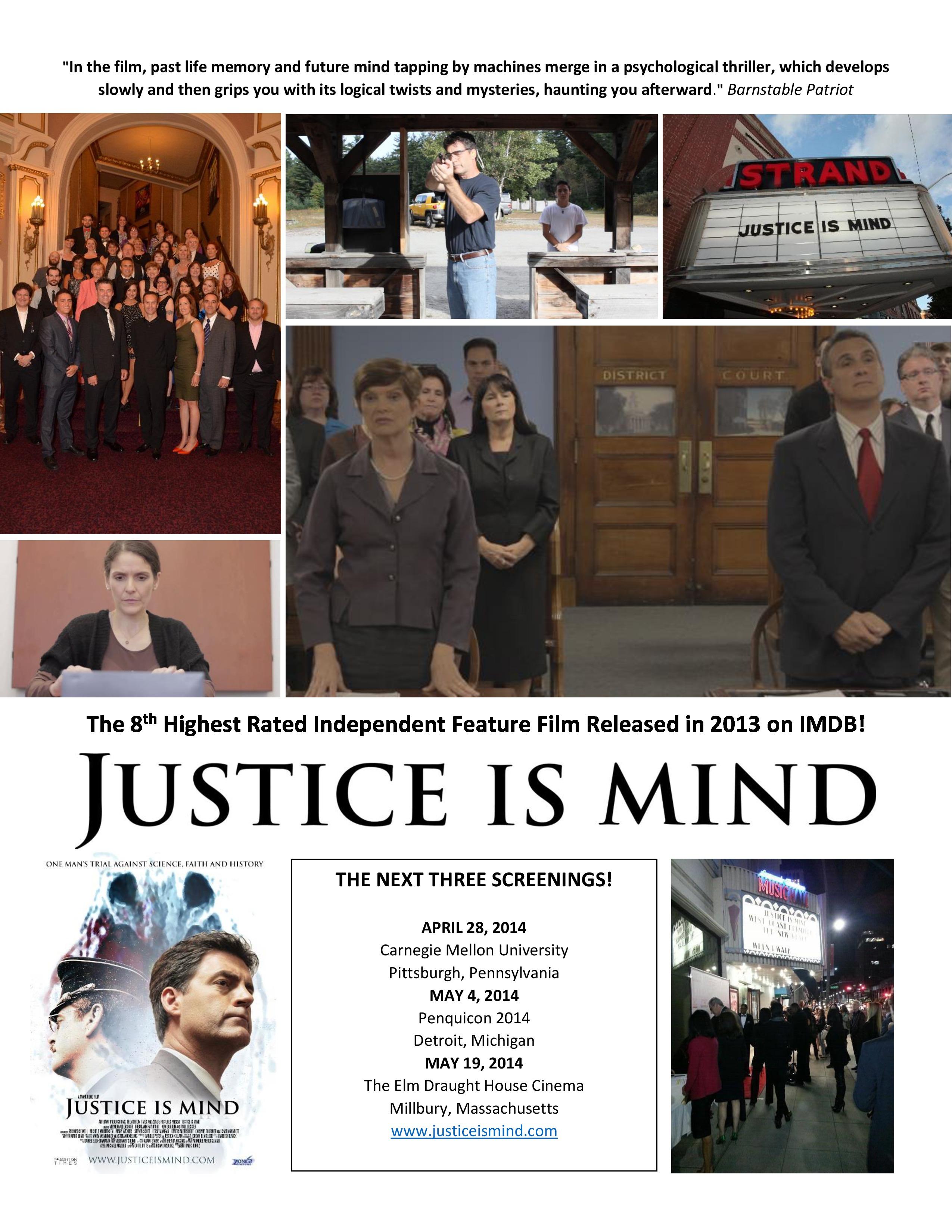 Justice Upcoming Screenings