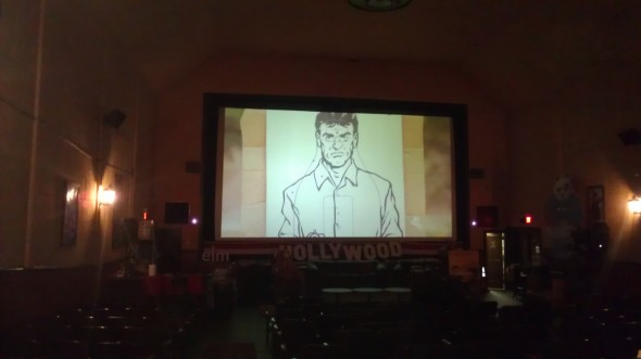 Justice Is Mind screen test at The Elm Draught House Cinema.