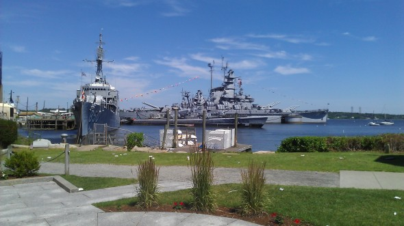 The USS Massachusetts at Battleship Cove where SOS United States opens.