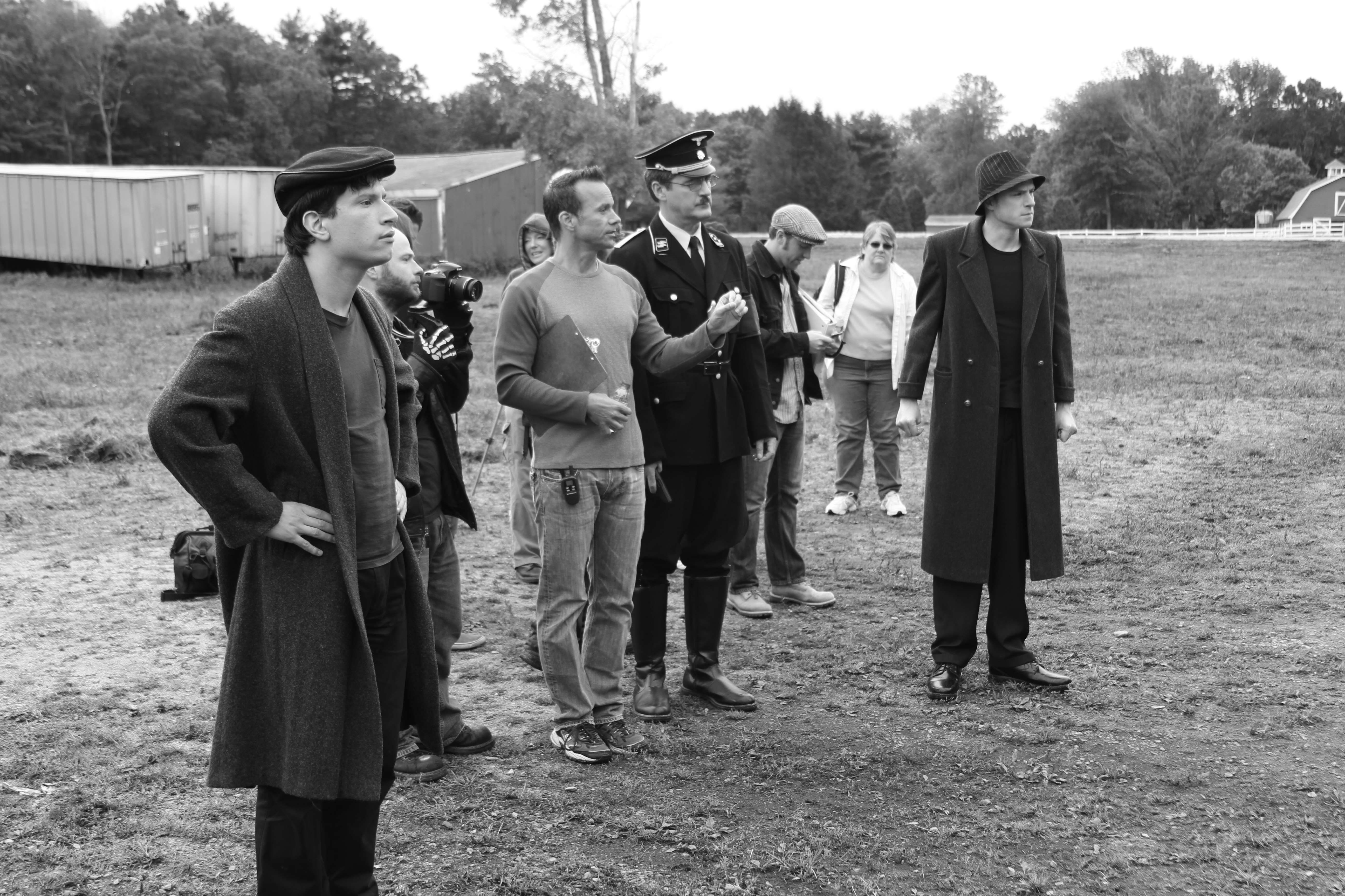 A never before published behind the scenes photo. Preparing to film the primary memory sequence that takes place in 1944 Germany.