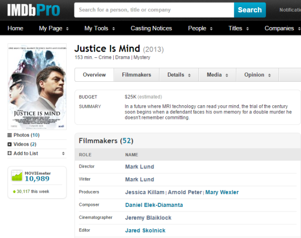 Justice Is Mind hit its highest MovieMeter rating this week on IMDB.