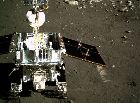 China's Yutu rover on the Moon.  In First World, China announces its first manned mission to the Moon in 2018 - four years ahead of schedule.