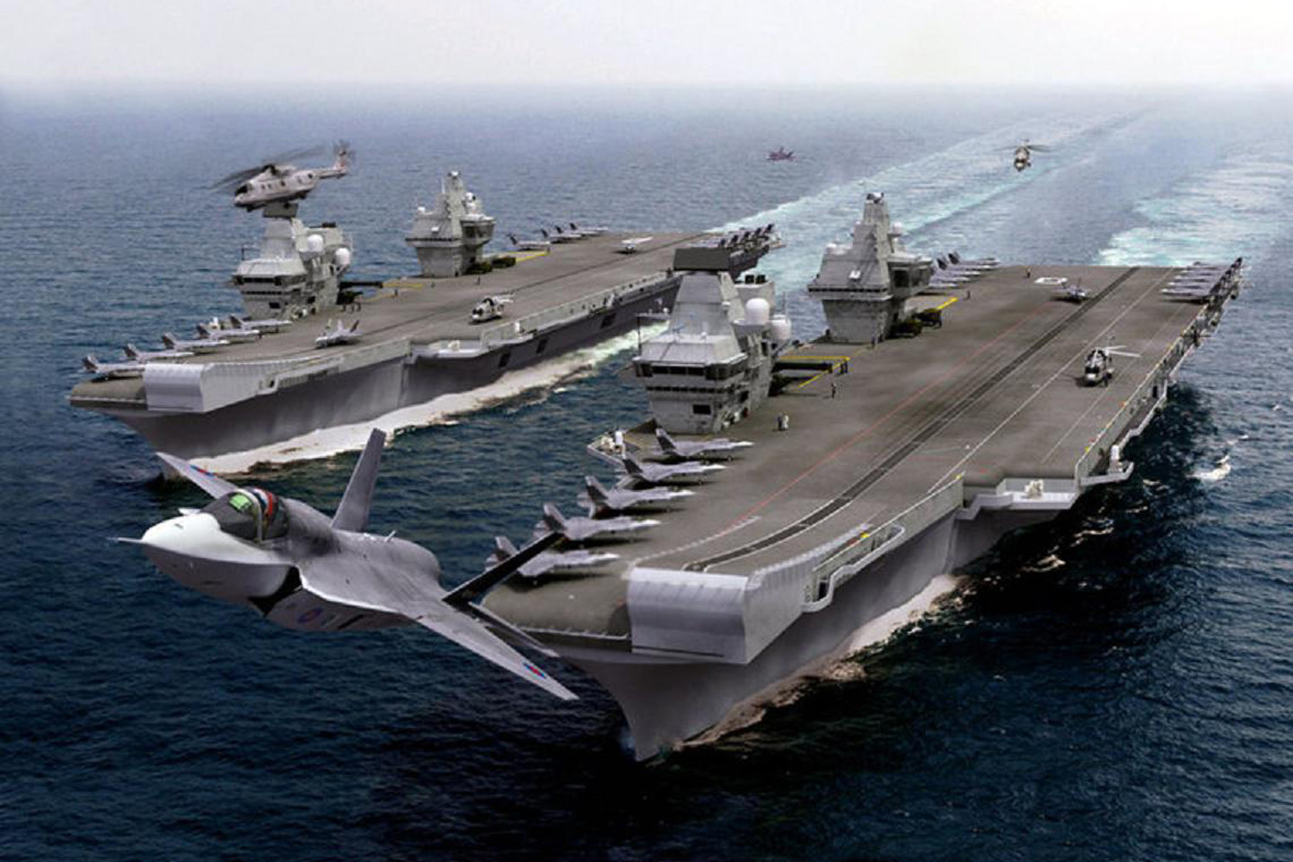 In SOS United States the HMS Queen Elizabeth aircraft carrier intercepts the SS Leviathan ocean liner.