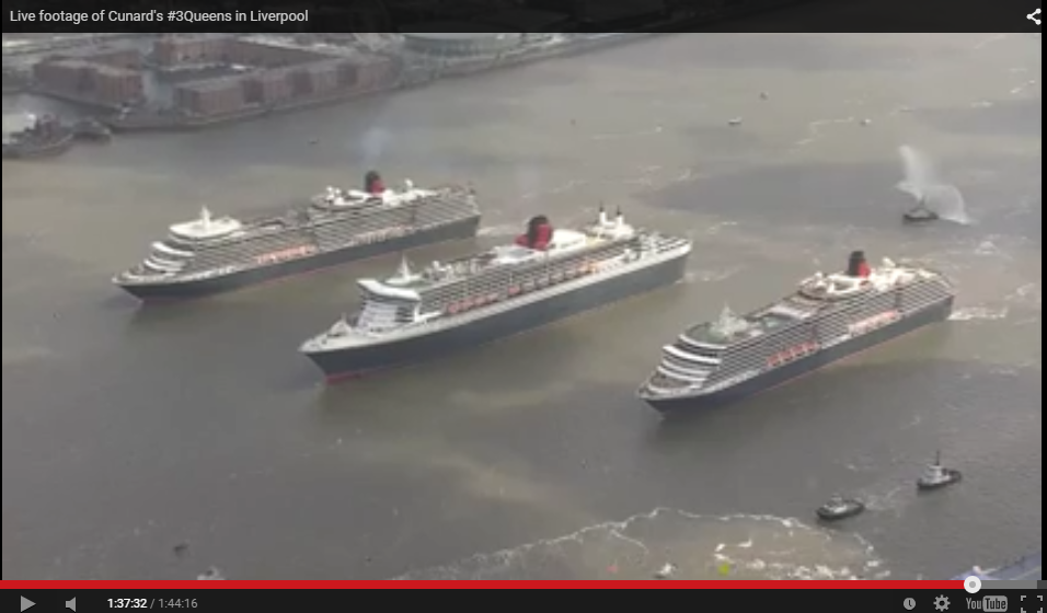 The three Queens celebrating the 175th anniversary of Cunard in Liverpool, England today.