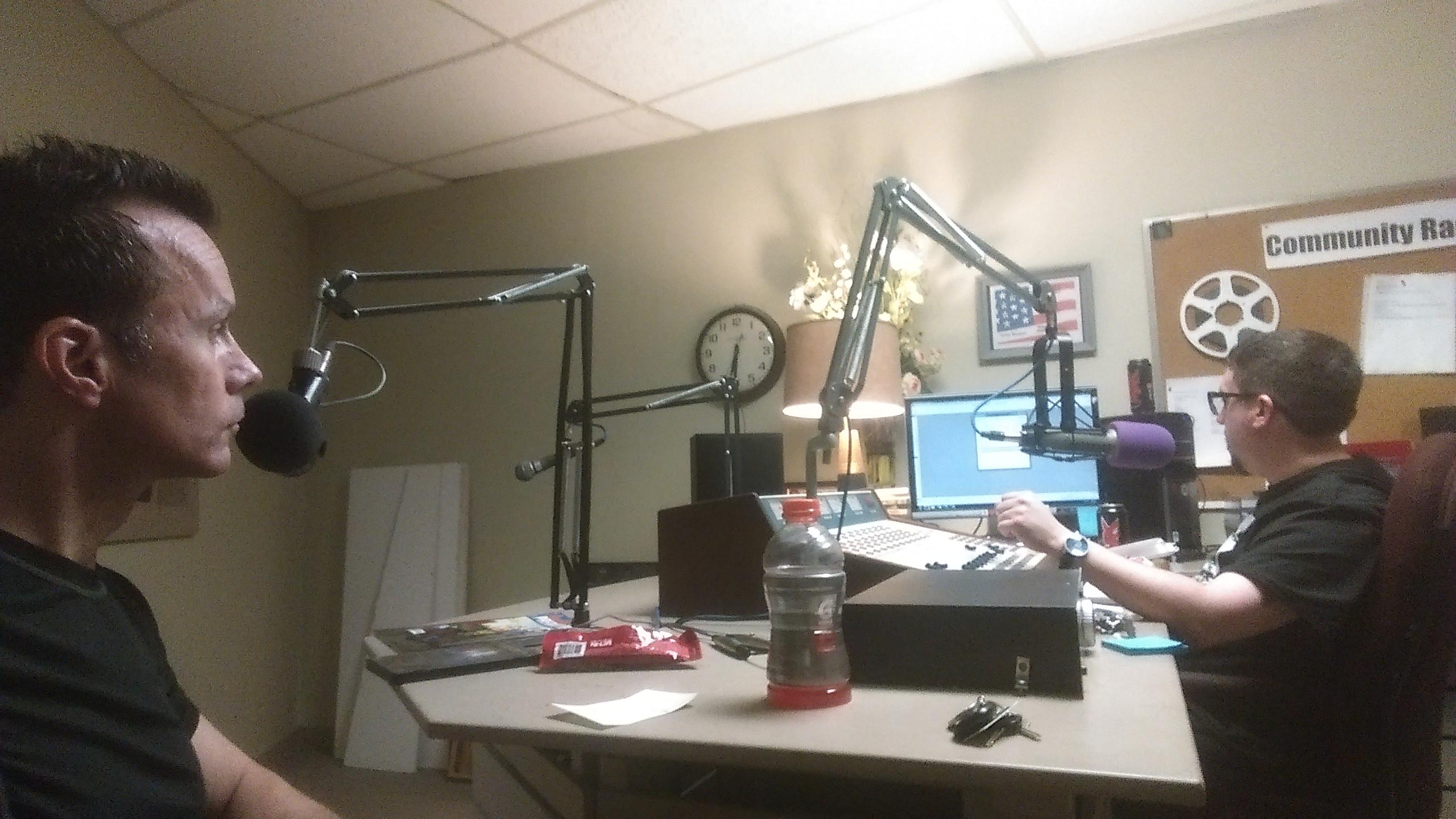 In the studio with Chris Denmead.