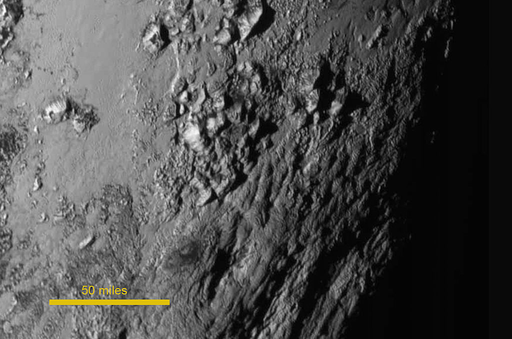 Near Pluto's equator as viewed by New Horizons on July 14, 2015.