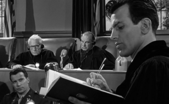 Spencer Tracy, Ray Teal, William Shatner and Maximilian Schell in Judgment at Nuremberg.