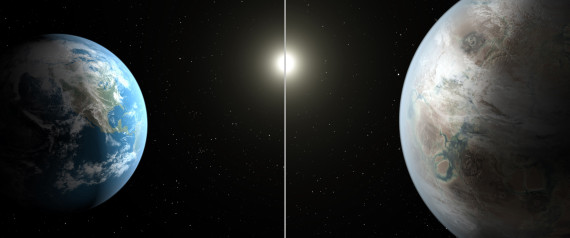 This artist's rendering made available by NASA on Thursday, July 23, 2015 shows a comparison between the Earth, left, and the planet Kepler-452b.