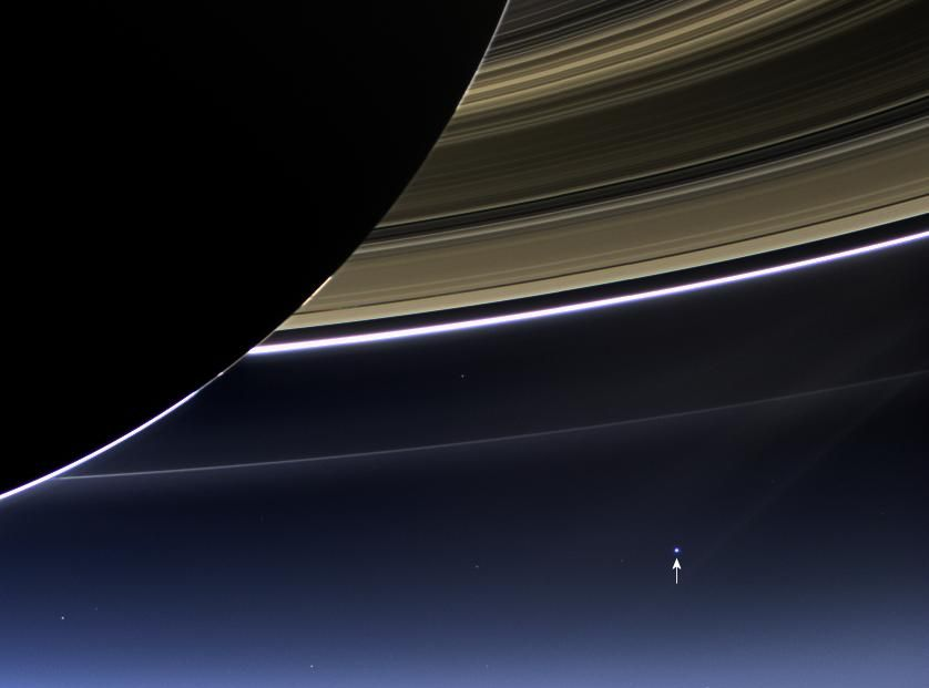 Earth. As seen from NASA's Cassini spacecraft through Saturn's rings on July 19, 2013
