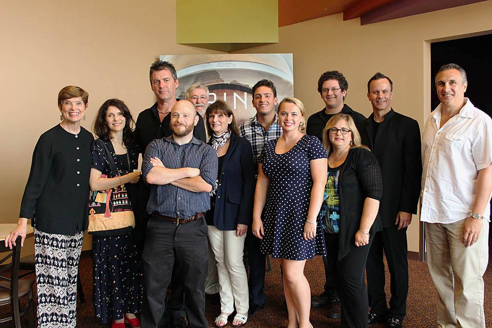 Some of the cast and crew at the second anniversary screening of Justice Is Mind on August 18, 2015.