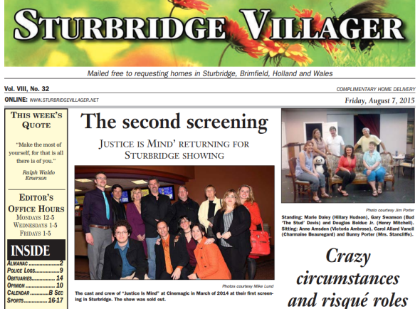 Justice Is Mind on the cover of the Sturbridge Villager.