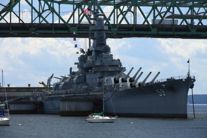 The USS Massachusetts BB-59 at Battleship Cove.