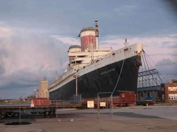 The SS United States now docked in Philadelphia.