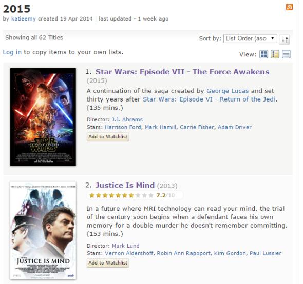 IMDb  2015   a list by katieemy#2