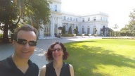 With Kim Merriam at Rosecliff. Newport, Rhode Island.