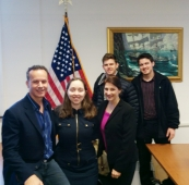 With Helen to my left at the Naval Justice School along with new actors to the program.
